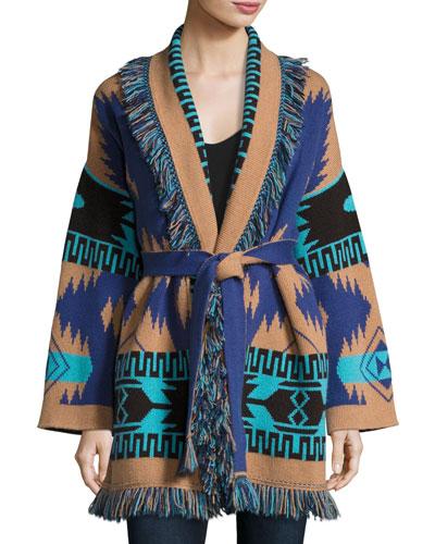 Southwestern Cashmere Robe Sweater, Blue Pattern