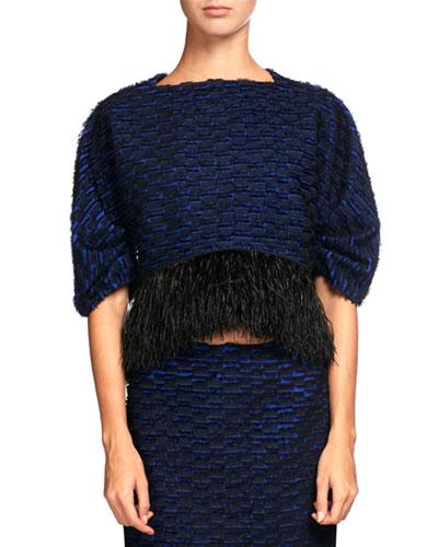 Knit Crop Top w/Feather Embellishment, Indigo