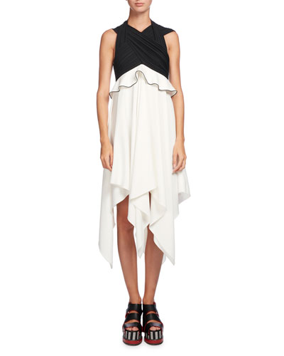 Sleeveless Waisted Crepe Dress, Black/White