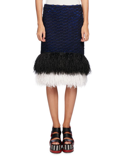 Feather-Embellished Pencil Skirt, Blue/Black
