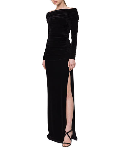 Ruched Off-the-Shoulder Velvet Gown