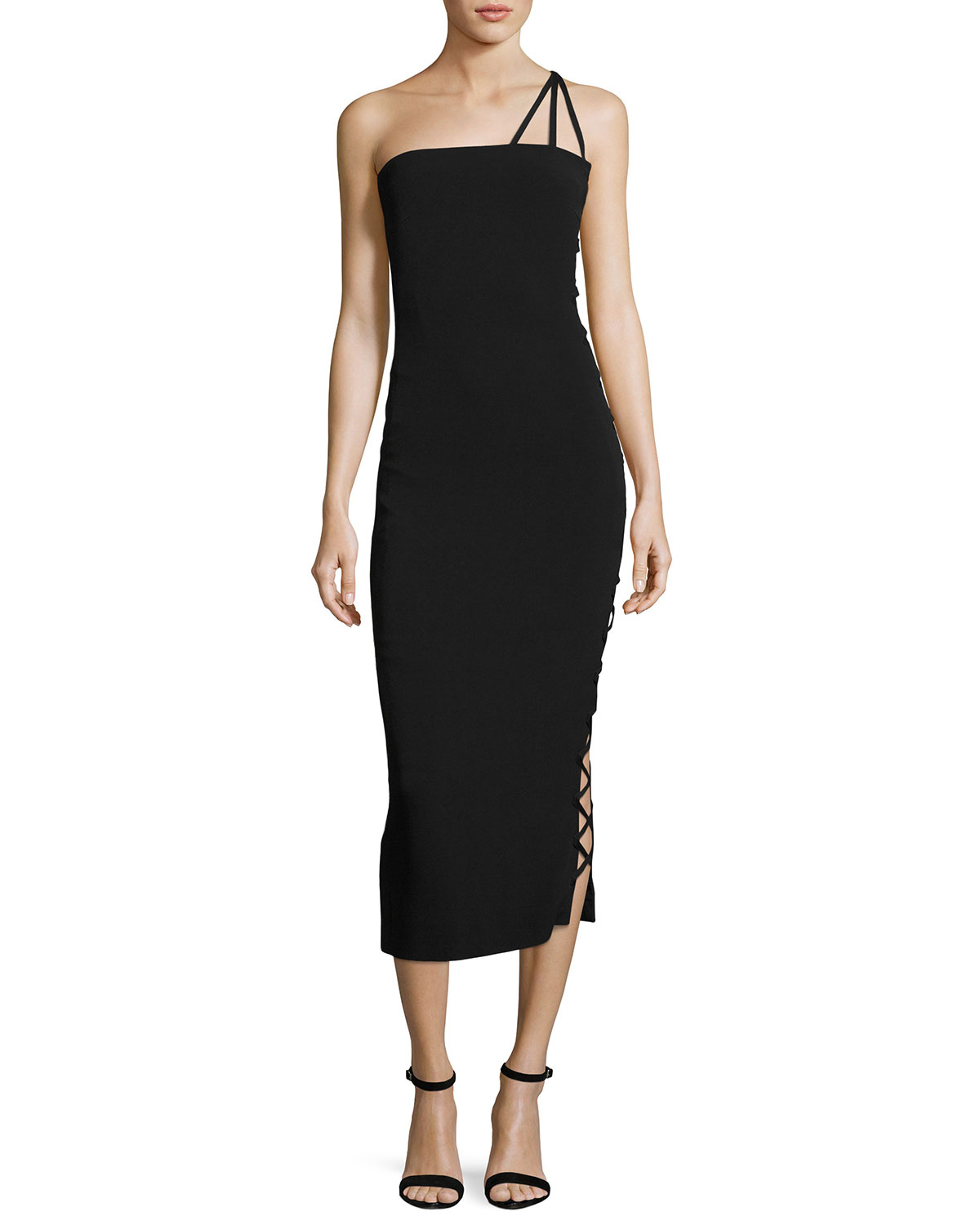 Alpha One-Shoulder Midi Cocktail Dress, Black