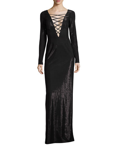 Asia Lace-Up Lamé Gown, Black