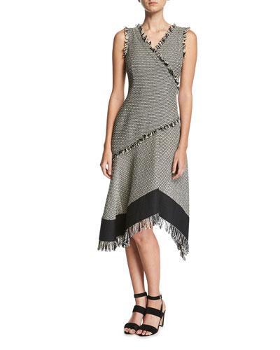 Fringed Tweed Asymmetric Dress