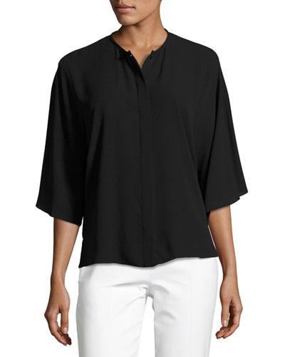 Short-Sleeve Silk Georgette Top