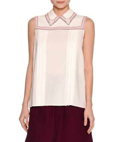 Sleeveless Cross-Stitch Blouse, White