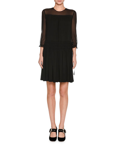 3/4-Sleeve Sable Dress, Black
