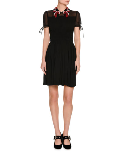 Short-Sleeve Sable Dress w/Macrame Collar, Black