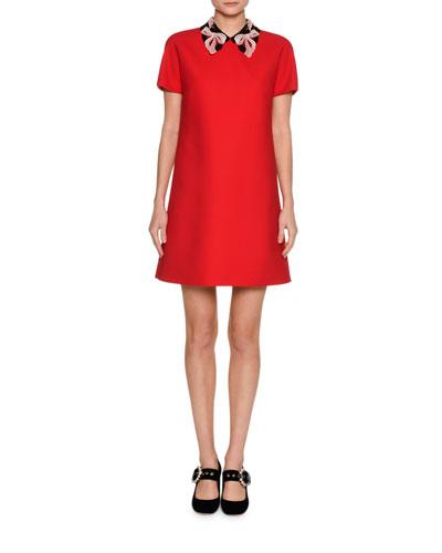 Short-Sleeve Cady Dress w/Macrame Collar, Red