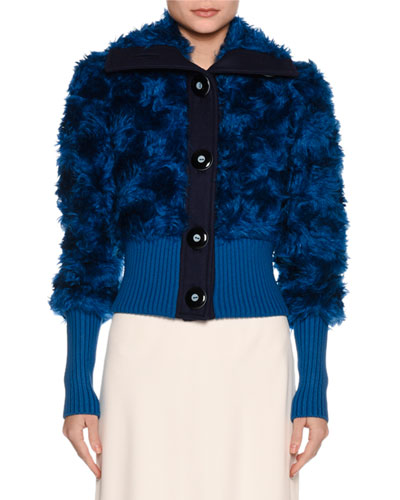 Rib-Trim Shearling Fur Jacket, Blue