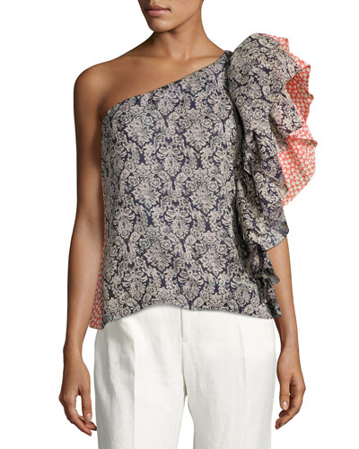 Ruffled One-Shoulder Top, Multi Pattern