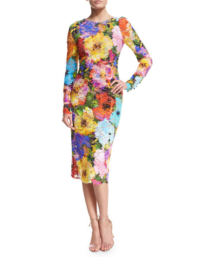 Floral Lace Long-Sleeve Sheath Dress