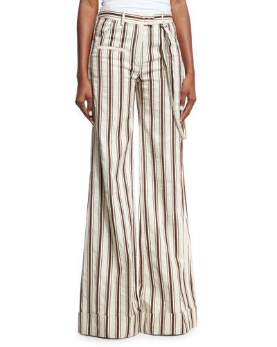 Striped Linen B-Boy Pants, Brown Pattern