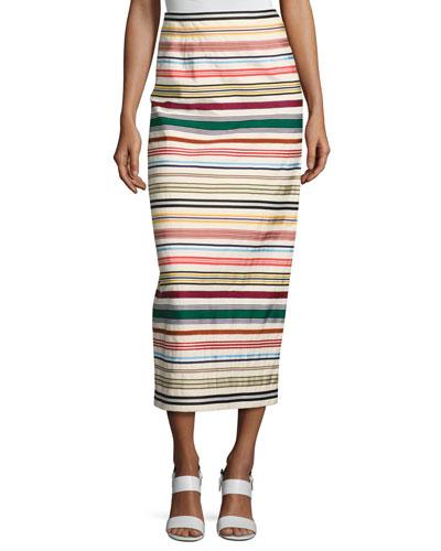 Ribbon Striped Pencil Skirt, Multi