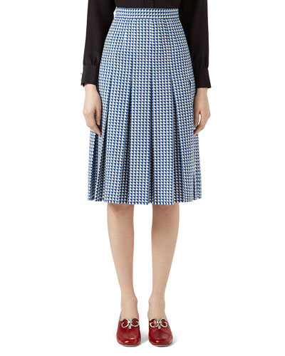 Pleated Houndstooth Wool-Blend Skirt, Blue/White