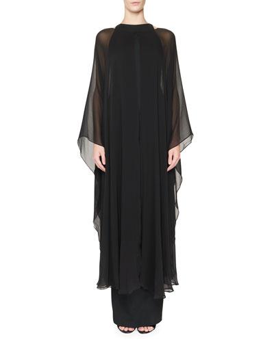 Super-Stretch Faille Column Gown w/Chiffon Overlay, Black