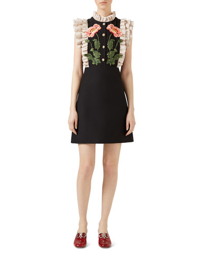 Gardenia Cady Crepe Dress, Black/White