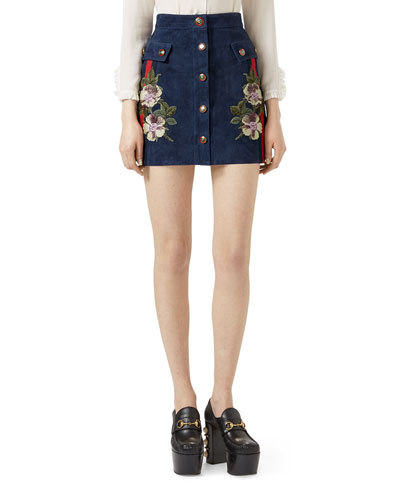Embroidered Suede Mini Skirt, Navy