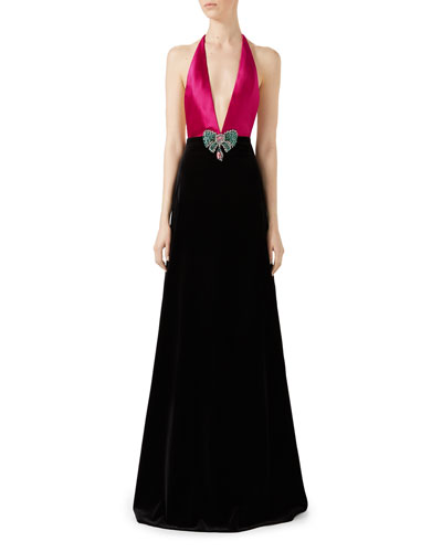 Soft Cotton Velvet Stretch Gown, Pink/Black