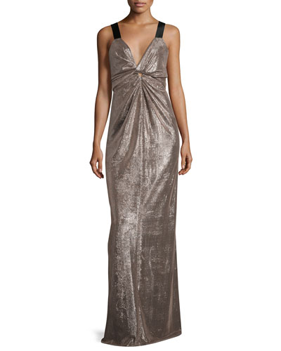 Apolonia Stretch Lamé Gown, Gray