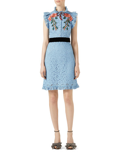 Embroidered Cluny Lace Dress, Light Blue