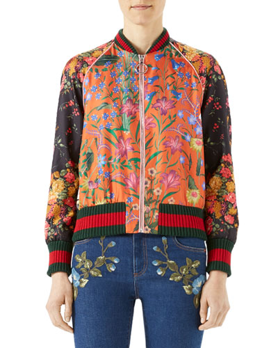 Macro New Flora Twill Baseball Jacket, Multi