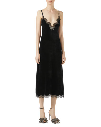 Velvet Lace-Trim Slip Dress, Black