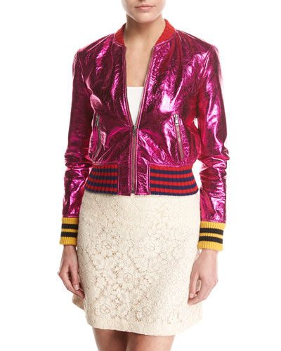 Metallic Fuchsia Leather Bomber Jacket