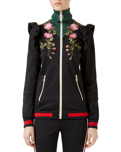 Technical Jersey Zip-Up Jacket, Black