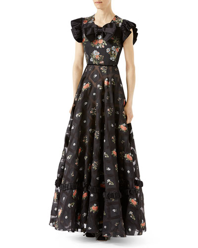 Floral Duchesse Gown, Black Pattern