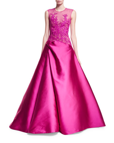 Sleeveless Embroidered Illusion Ball Gown