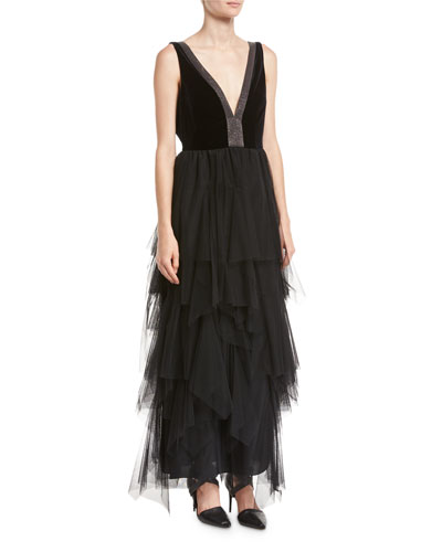 Velvet & Tulle Tiered Monili-Trim Gown