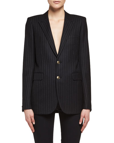 Pinstriped Two-Button Blazer, Navy