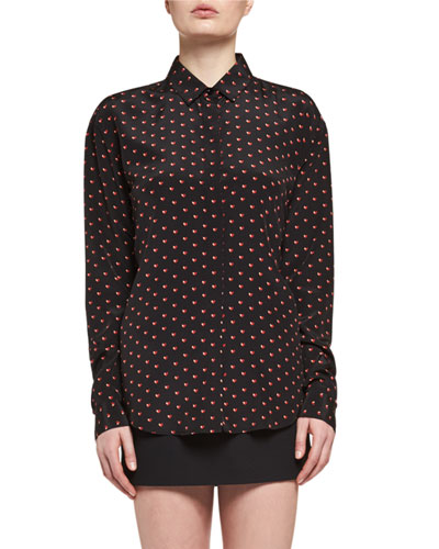 Mini Hear-Print Silk Blouse, Black/Red