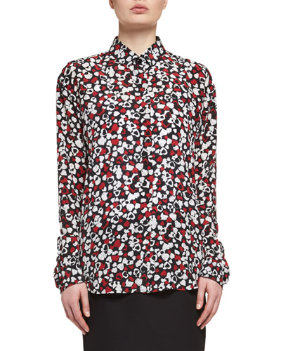 Heart-Print Silk Blouse, Multi
