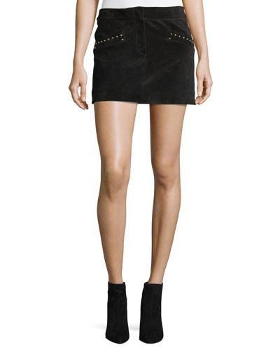 Studded Suede Mini Skirt
