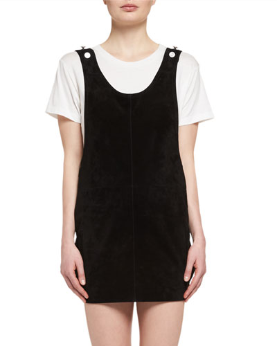 Suede Apron Dress, Black