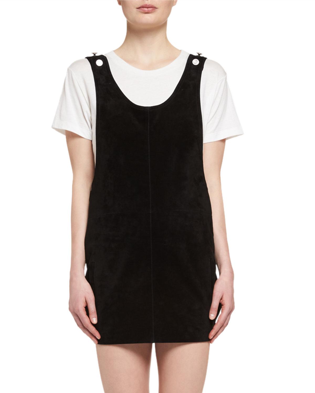 Suede Apron Dress, Black