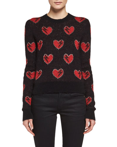 Long-Sleeve Heart Sweater, Black/Red