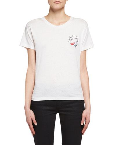 Lips Smoking Short-Sleeve T-Shirt, White