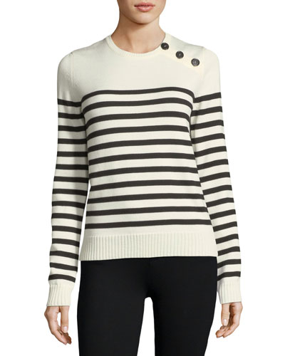 Striped Wool Button-Shoulder Sweater