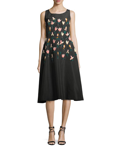 Tulip Embroidered Faille A-Line Dress