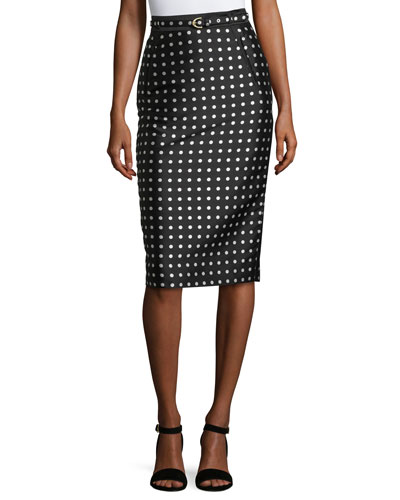 Carlton Polka-Dot Pencil Skirt