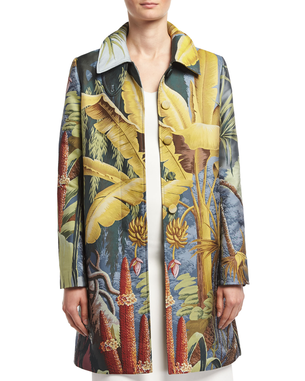 Jungle-Print Rain Coat, Multi