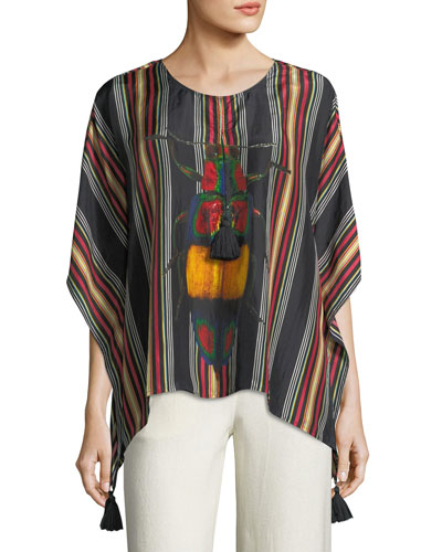 Katia Striped Bug Popover Top
