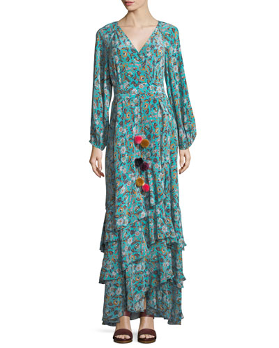 Frederica Paisley-Print Silk Maxi Dress, Multi