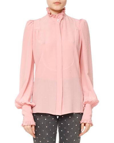 Sloan Silk Puff-Sleeve Blouse
