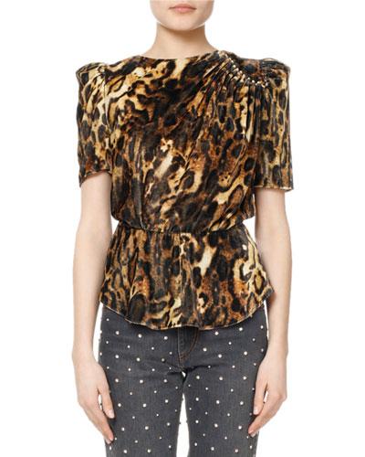 Udell Leopard-Print Ruched Velvet Top