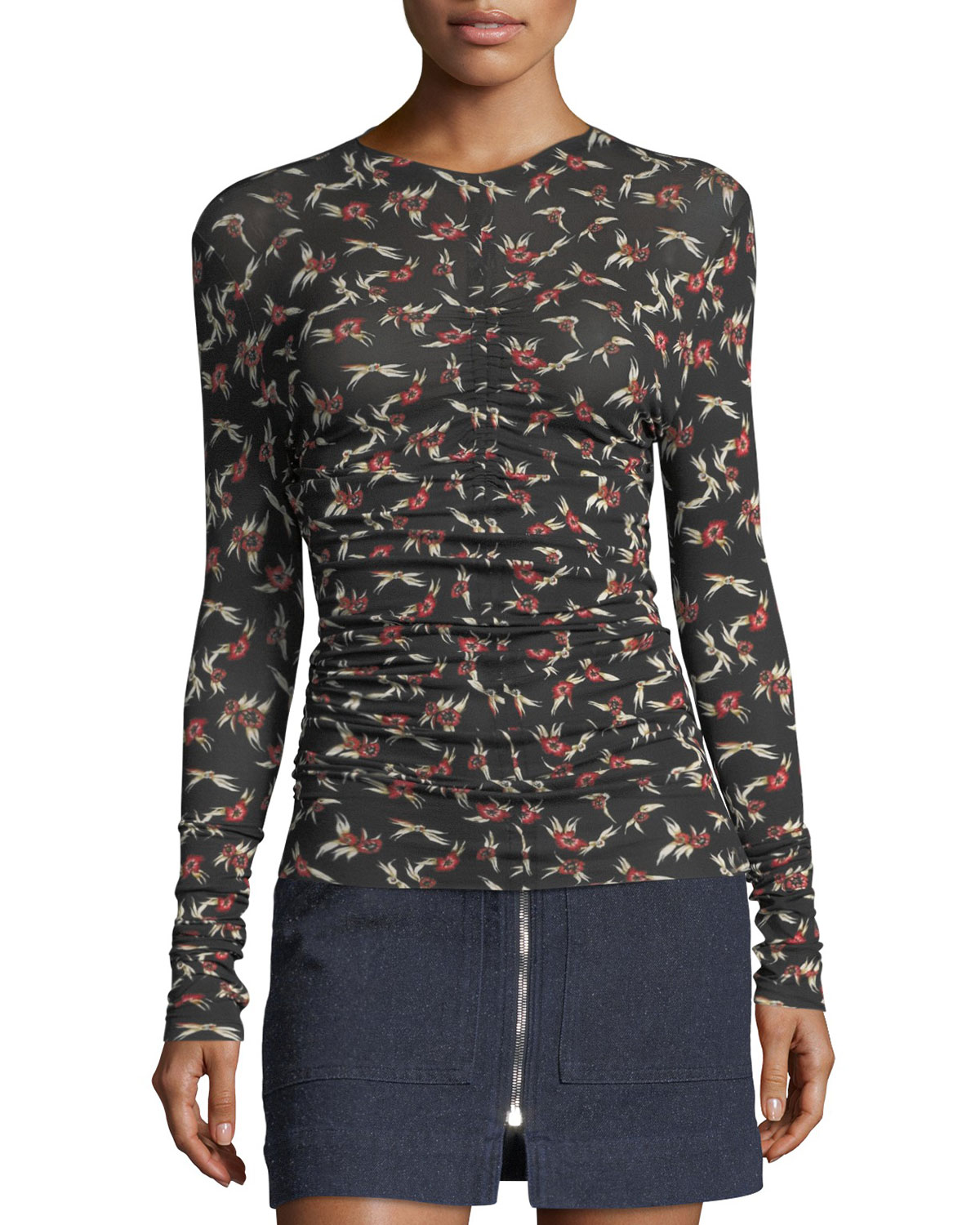 Miston Ruched Floral Top