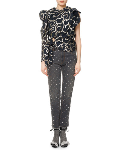 Chass Scroll-Print One-Sleeve Top